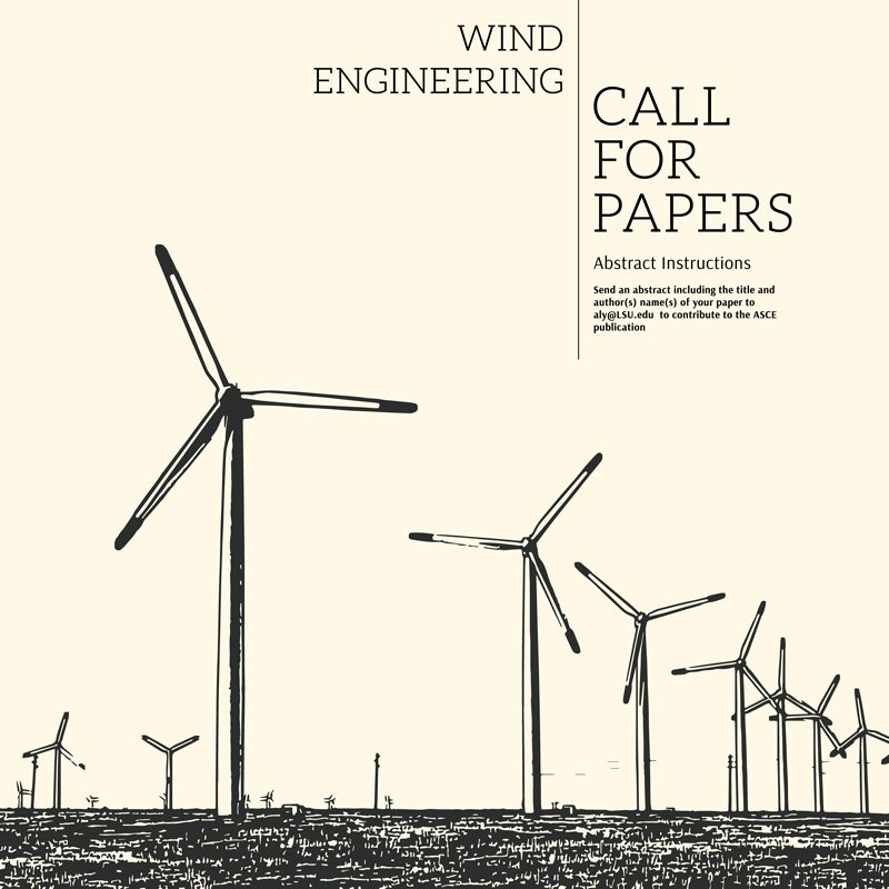 ASCE Call for Papers image with Wind Turbines